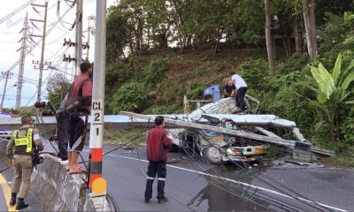 Two men die after truck plows into power pole in Phuket | Thaiger