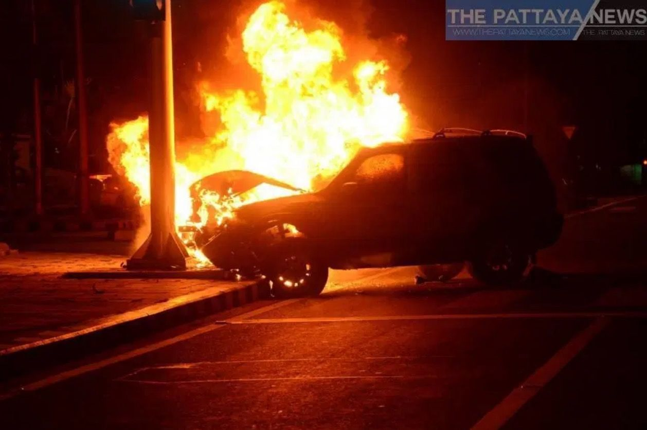 Officer survives fiery crash in Chon Buri   News by Thaiger