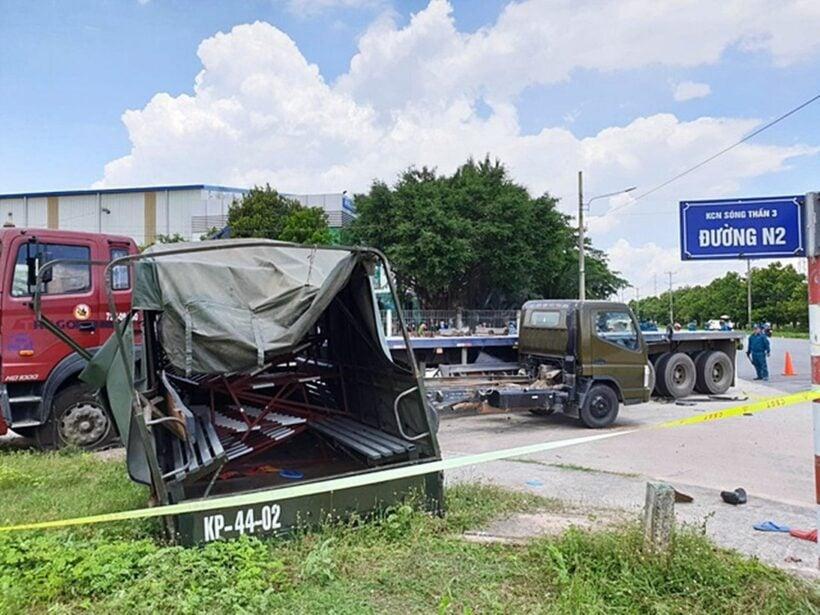 Bình Dương: Xe container tông xe biển đỏ khiến 1 người chết, 6 người bị thương | The Thaiger