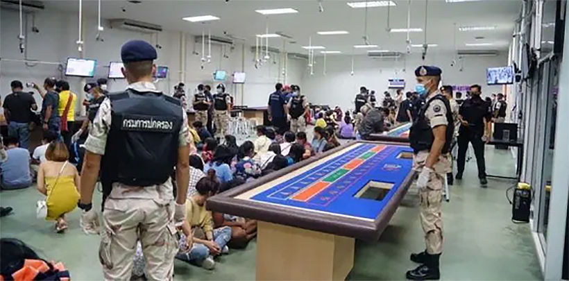 Rayong police raid huge illegal gambling den, arrest 118 - VIDEO   News by Thaiger