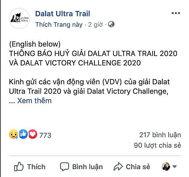 Giải Dalat Ultra Trail 2020 và Dalat Victory Challenge chính thức bị hủy | News by Thaiger