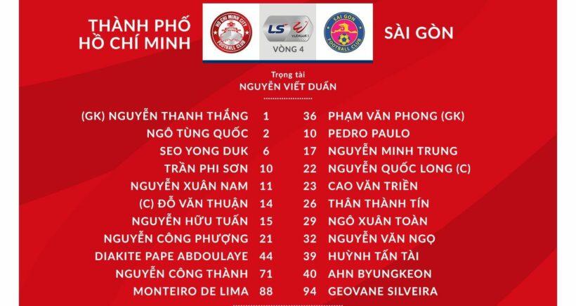 Kết quả bóng đá V-League vòng 4: TP. HCM vs Sài Gòn - Thắng 1 quả, Sài Gòn FC giành 3 điểm | News by Thaiger