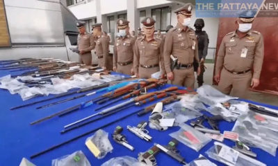 Police in Chon Buri display huge cache of seized weapon | Thaiger