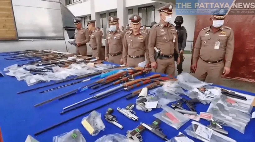 Police in Chon Buri display huge cache of seized weapon   Thaiger
