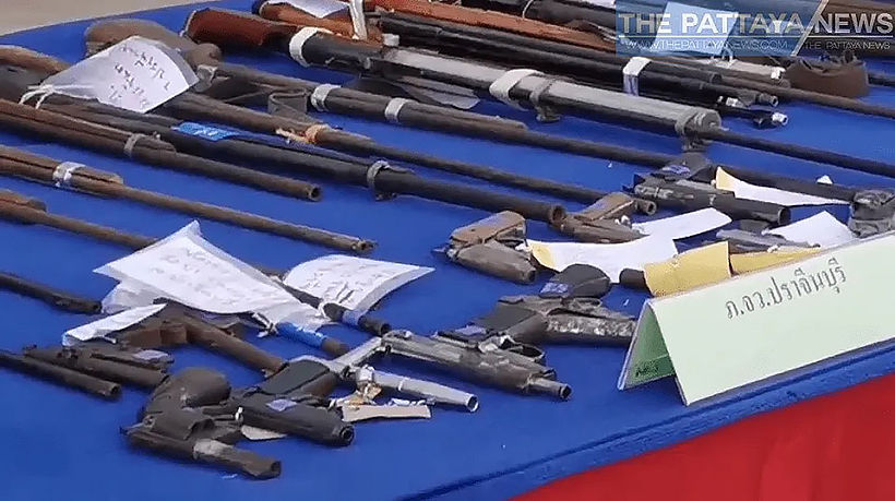 Police in Chon Buri display huge cache of seized weapon   News by Thaiger