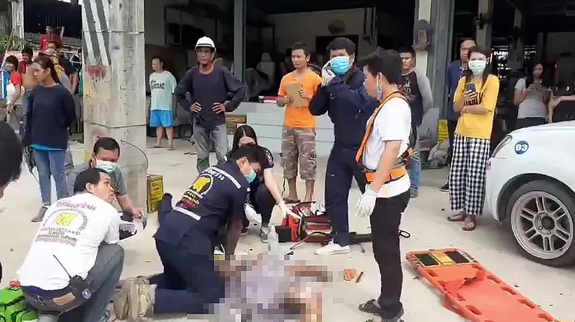 Electric company worker severely shocked, injured in 5 metre fall | News by Thaiger