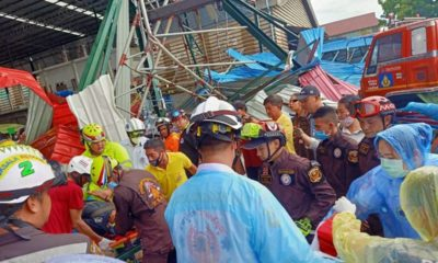 1 dead, 14 injured in Nakhon Phathom market collapse | Thaiger