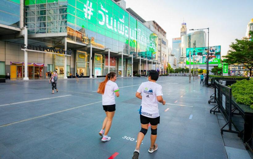Bangkok running enthusiasts enjoy new pop-up track at Central World