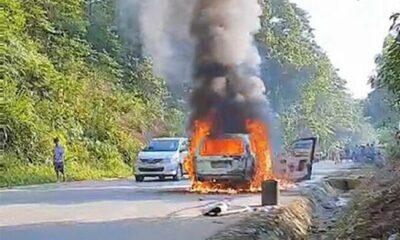 Thanh Hóa: Ô tô cháy trơ khung trên đường Hồ Chí Minh | The Thaiger