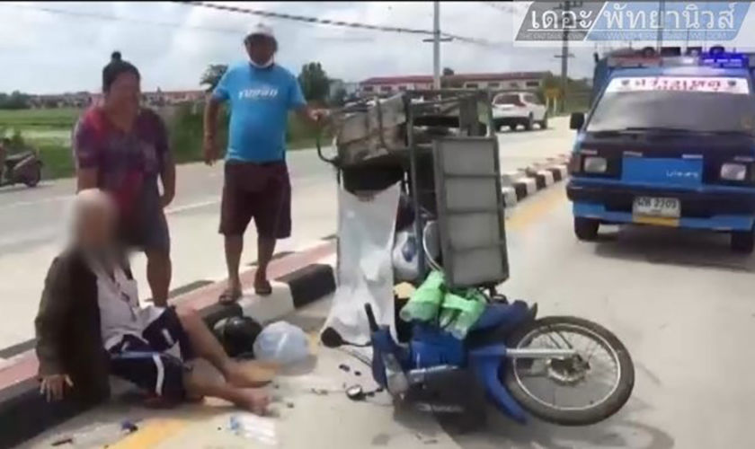 Elderly man escapes with minor injuries as motorbike hit by 10 wheeler truck | Thaiger
