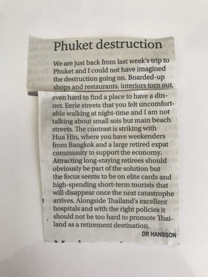 """Readers react to """"Phuket Destruction"""" letter to editor 