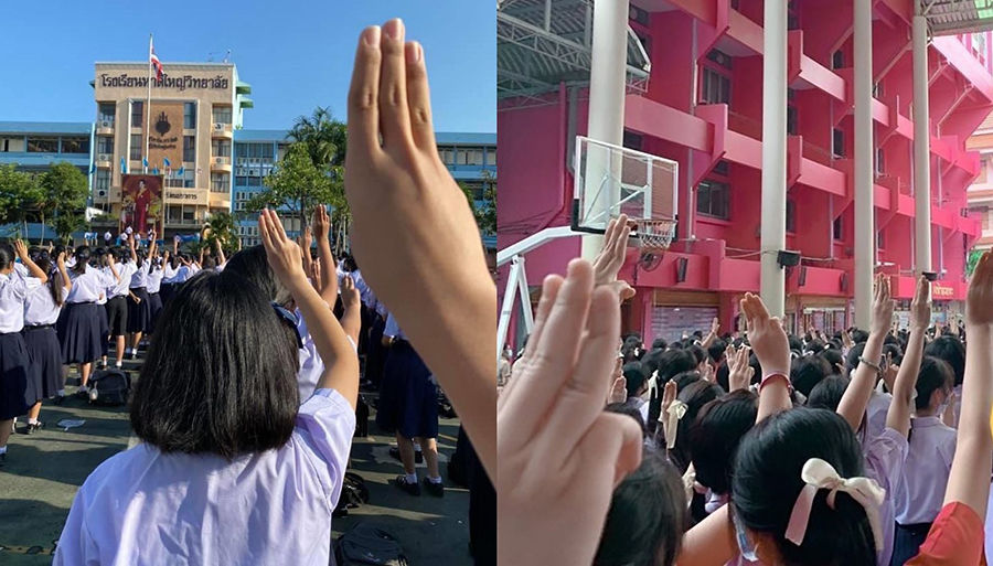 School pupils show solidarity with anti-government protests – VIDEO   Thaiger