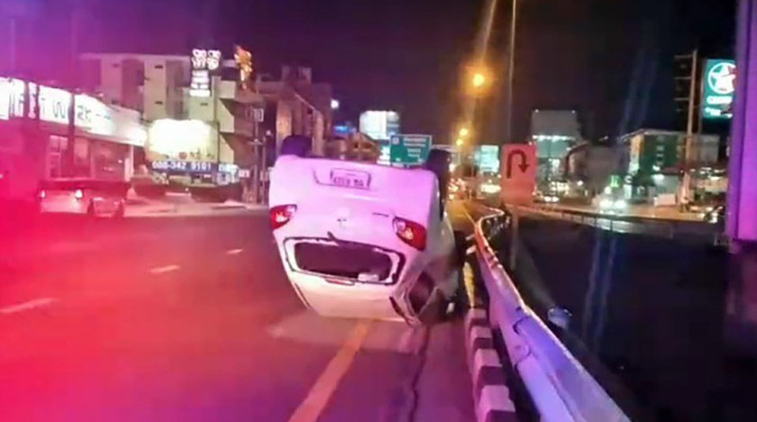 Woman and 2 children escape unharmed after car flips over in Pattaya   Thaiger