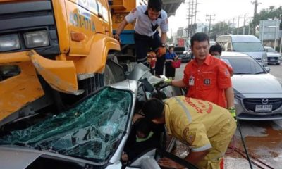 1 dead, 2 injured, as out-of-control construction truck ploughs into family car | Thaiger