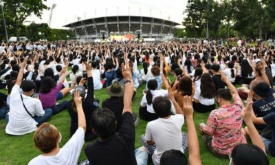 Protesters flood Thammasat University for major anti-government rally | Thaiger