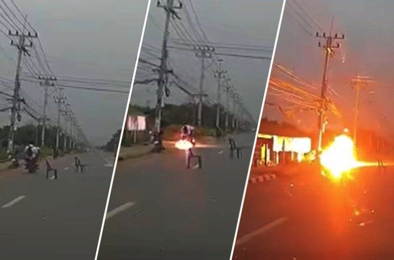 Loose electrical wire causes passing motorbike to burst into flames – VIDEO | Thaiger
