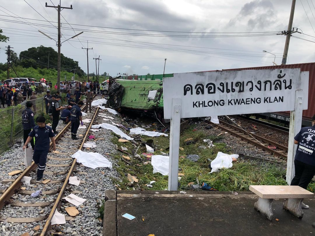 UPDATE: Broken railway crossing signal contributed to fatal bus-train collision east of Bangkok   Thaiger