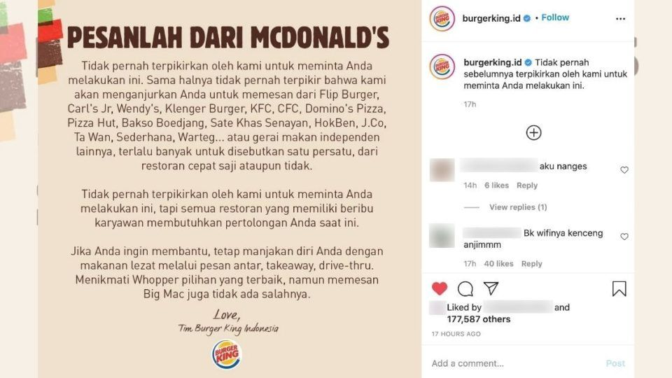 Burger King Indonesia urges diners to share the love - by ordering at McDonald's | News by Thaiger