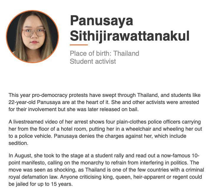 BBC names Thai protest leader Panusaya in global list of 100 most inspiring women | News by Thaiger