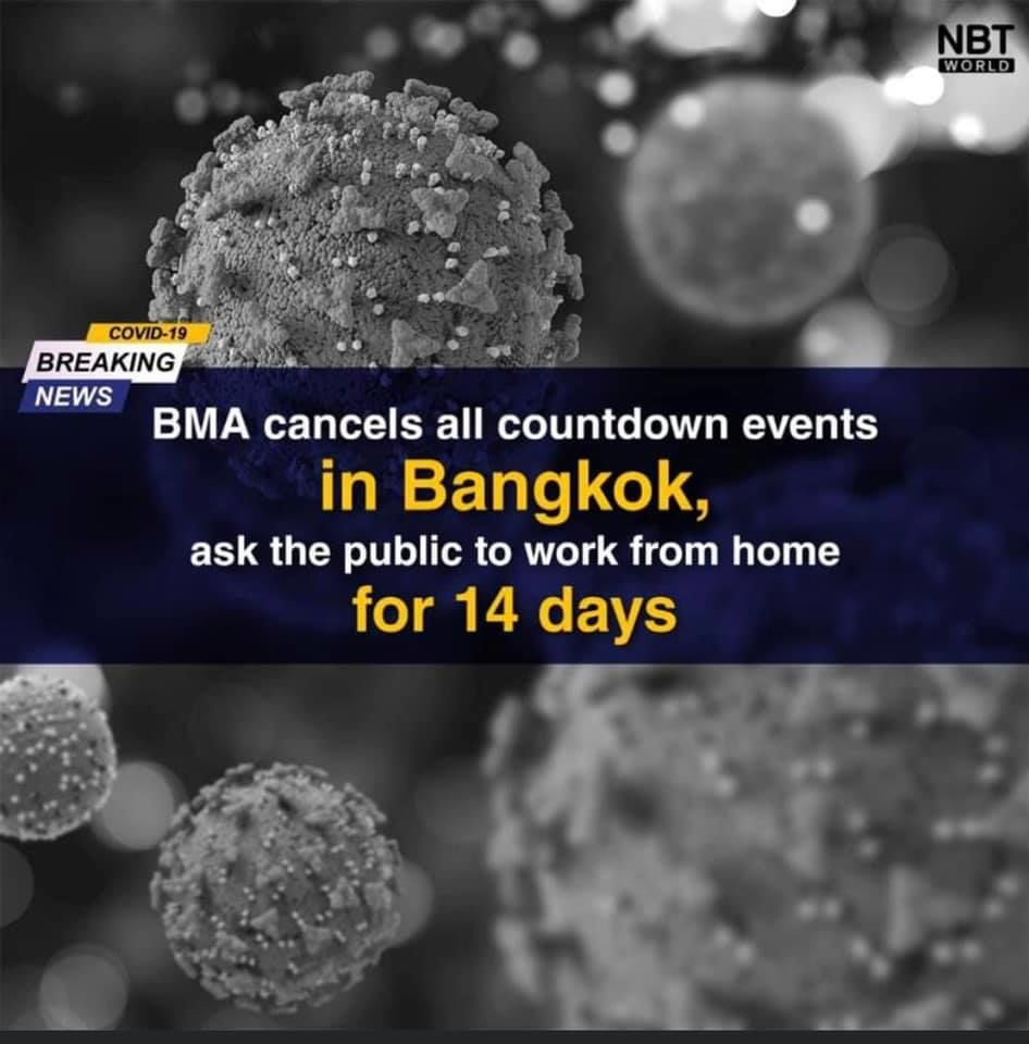 Bangkok Metropolitan Administration cancels NY countdown events, asks workers to work from home | News by Thaiger