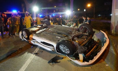Driver killed after car hits barrier, plummets off Bang Na Expressway | The Thaiger