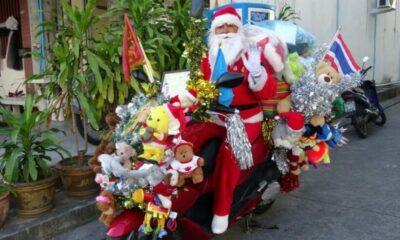 """Santa Claus of Rayong"" rides motorbike through Northern Thailand | The Thaiger"