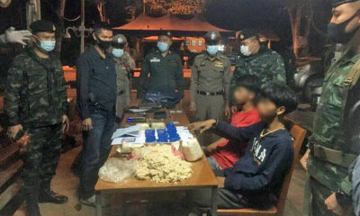 Kanchanaburi police officer's twin sons arrested for trafficking methamphetamines | Thaiger