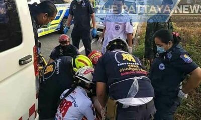 Pattaya driver injured after falling asleep at the wheel, plunging into ditch | Thaiger