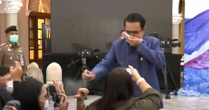 "PM Prayut Chan-o-cha says ""sorry"" for spraying reporters with hand sanitiser 