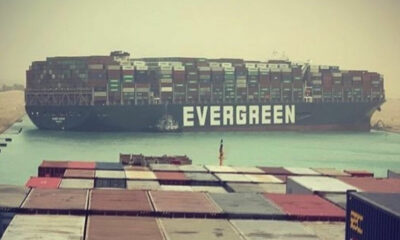 Suez Canal blocked by large container ship blown off course | Thaiger