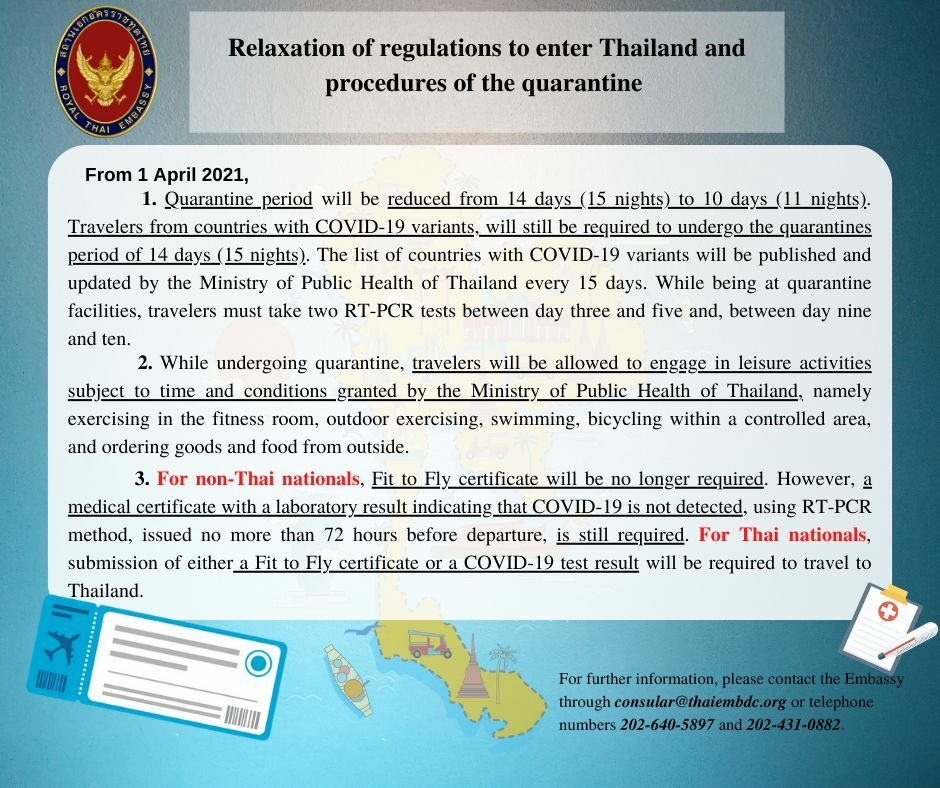 Quarantine period reduced to 10 days starting tomorrow   News by Thaiger