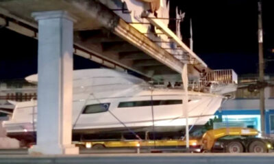 Footbridges stop luxury yacht travelling from Phuket to Samui | Thaiger