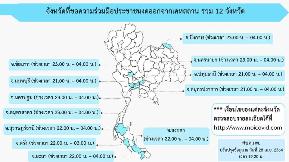 List of provinces requesting residents to stay at home during night hours | News by Thaiger