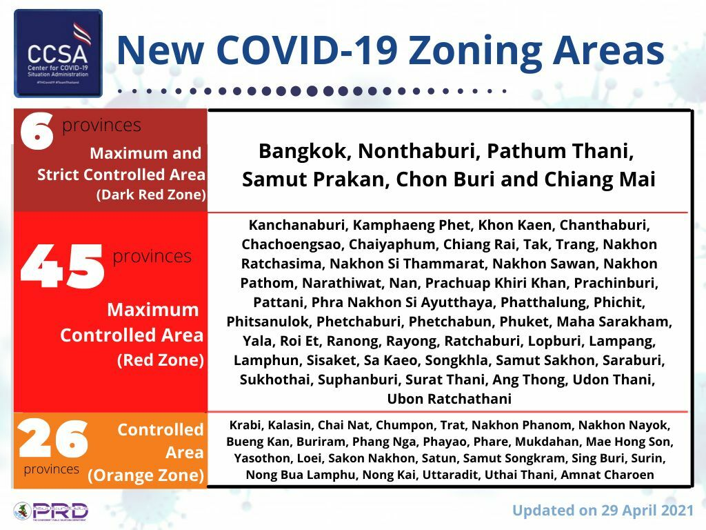 New Covid-19 zoning with tightened restrictions starts tomorrow | News by Thaiger
