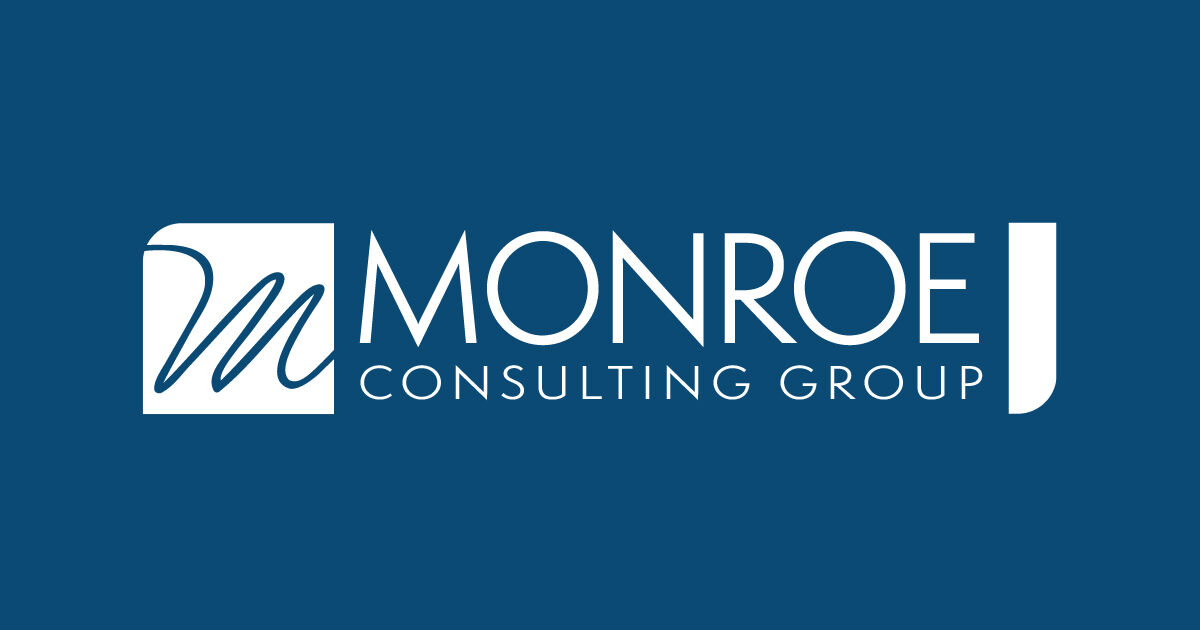 Monroe Consulting Group's Logo. Blue and White.