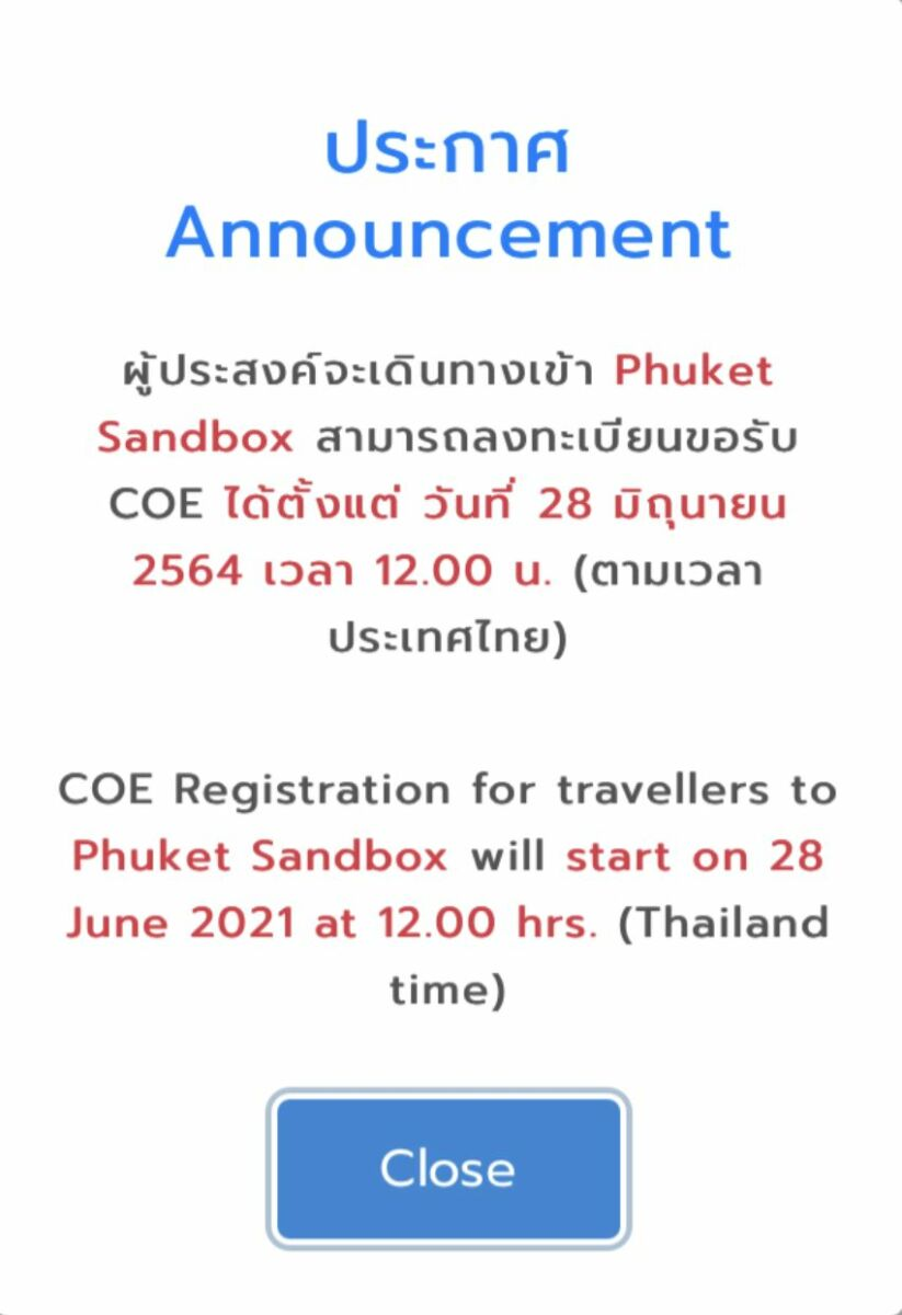 Thai embassies offering COEs for Sandbox travellers from Monday, June 28 | News by Thaiger