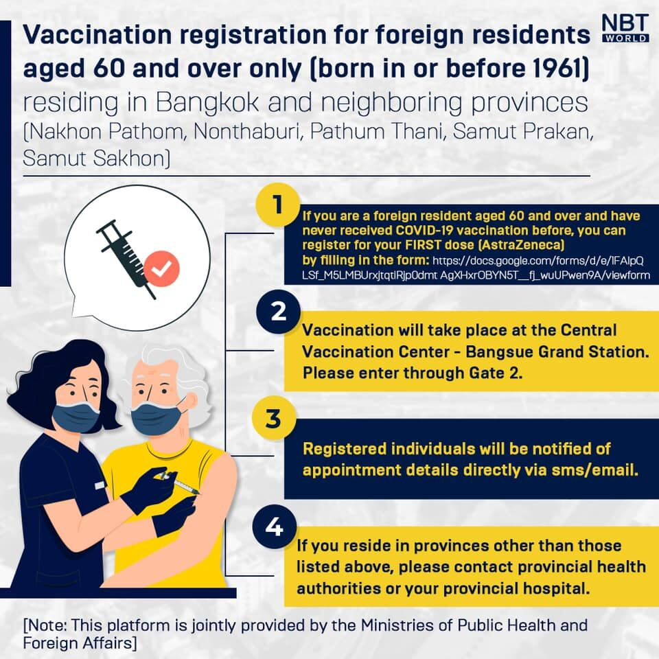 Vaccination registration open for foreign residents over 60 in Bangkok   News by Thaiger