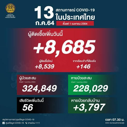 Tuesday Covid Update: 8,685 new cases and 56 deaths | News by Thaiger